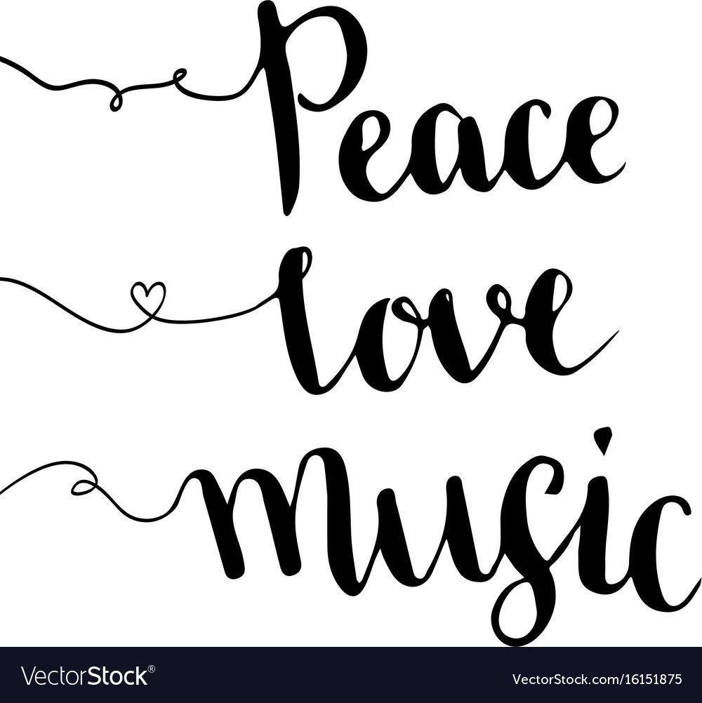 Peace love music dance cartoon clipart black and white clip art free library Peace love music handwritten lettering hand drawn clip art free library