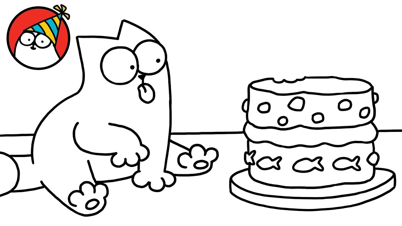 Peace love music dance cartoon clipart black and white png black and white Purrthday Cake (A 10th Birthday Special) - Simon\'s Cat | SHORTS #75 png black and white