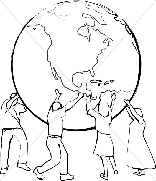 Peace on earth clipart black and white image freeuse download Supporting the Earth Line Art | Peace Clipart image freeuse download