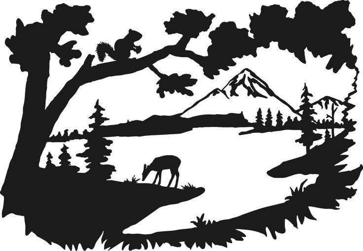 Peaceful scene clipart picture download Country Lake Scene Mountains Water Fawn Deer Peaceful Serene ... picture download