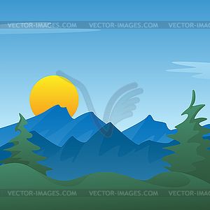 Peaceful scene clipart vector free stock Peaceful blue mountain landscape scene - vector clipart vector free stock