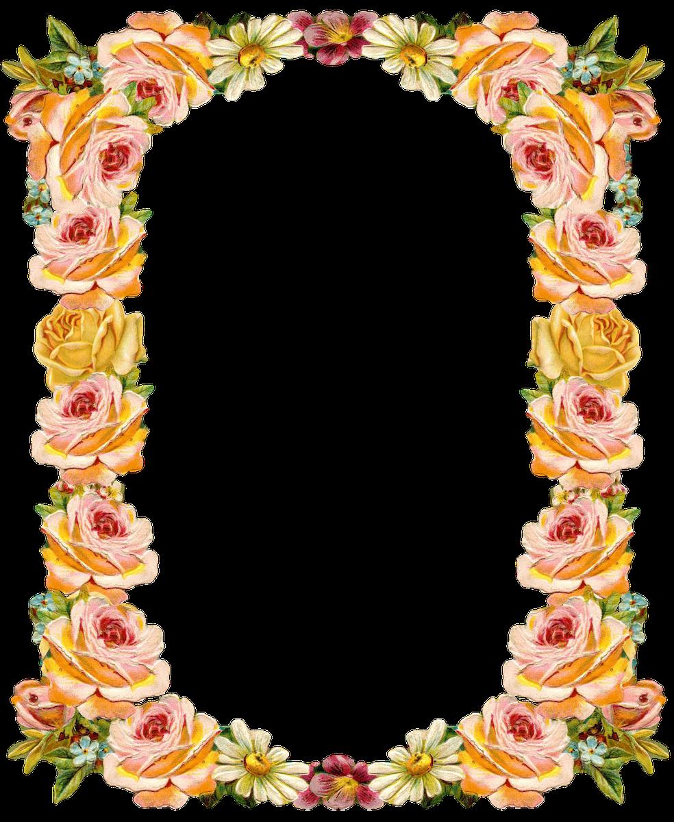 Peach flower clipart banner library stock Free digital vintage flower frame: peach colored - Blumenrahmen ... banner library stock