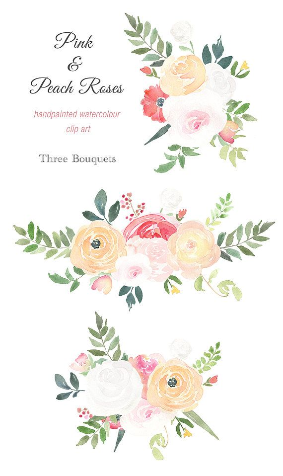 Wedding floral design clipart picture library library Watercolour Bouquet Clipart - Pink and Peach Roses, wedding ... picture library library