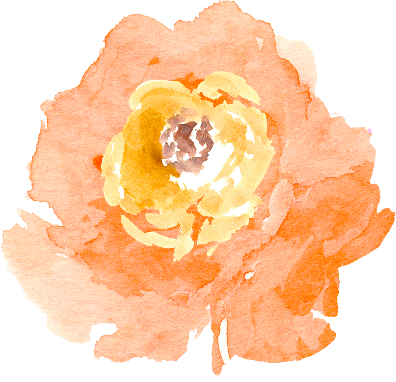 Peach watercolor flower clipart picture black and white stock Free Watercolor Floral Elements- Pretty! - Free Pretty Things For You picture black and white stock