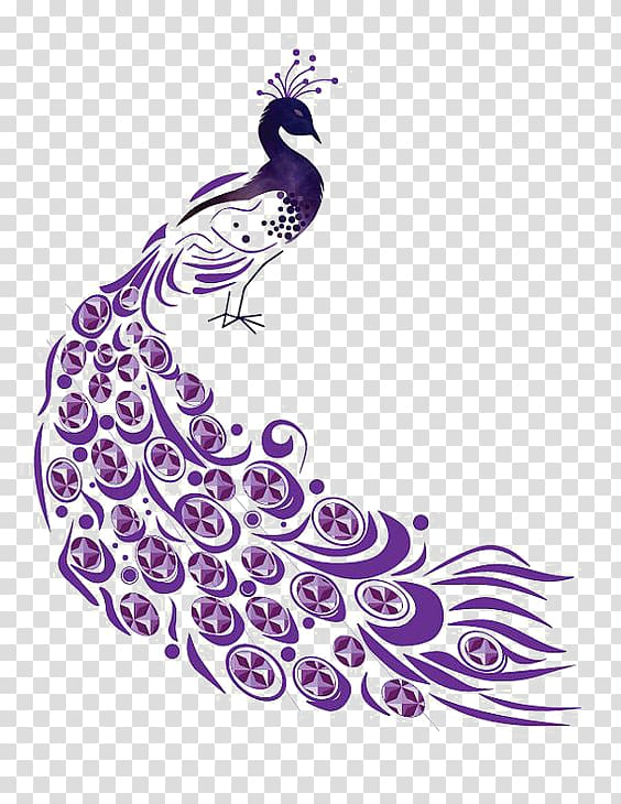 Peacock design clipart png royalty free download Peafowl Illustration, Purple Peacock transparent background ... png royalty free download