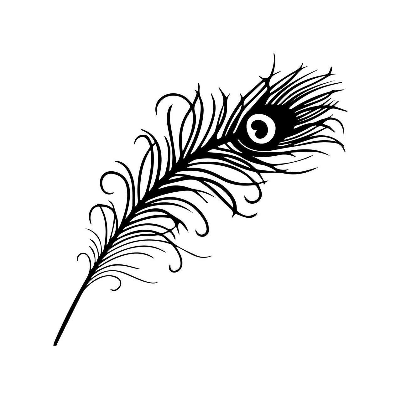 Peacock feather clipart file black and white library Free Peacock Feather SVG Cut File | Craftables black and white library