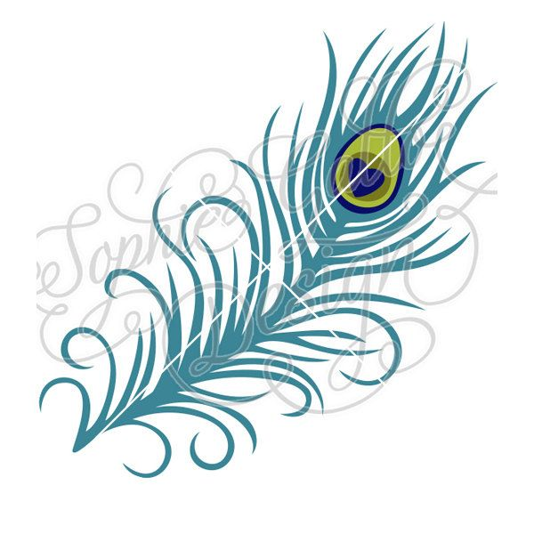 Peacock feather clipart file banner free Long Peacock Feather Cut SVG DXF digital download files for ... banner free
