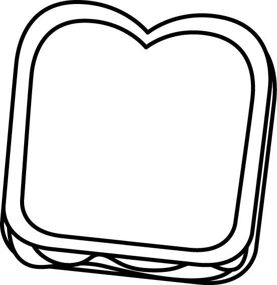 Peanut butter and jelly sandwich clipart black and white