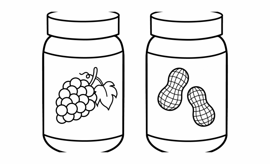 Peanut butter clipart black and white image royalty free download Jar Clipart Outline - Peanut Butter And Jelly Clipart Black ... image royalty free download