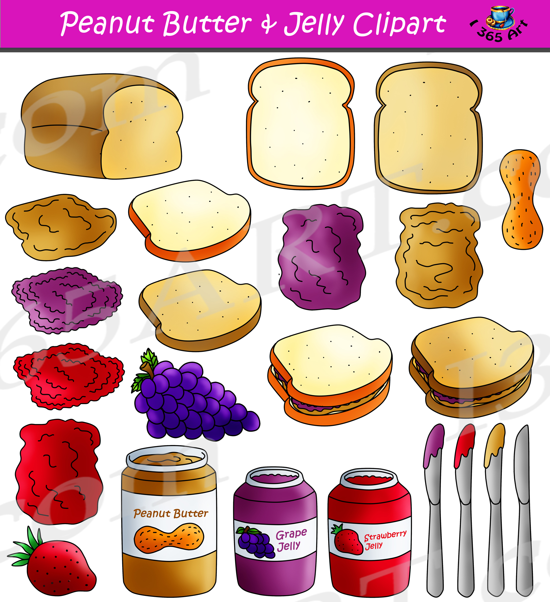 Peanut butter jelly sandwich clipart vector transparent stock Peanut Butter Jelly Clipart Maker Graphics Commercial Download vector transparent stock