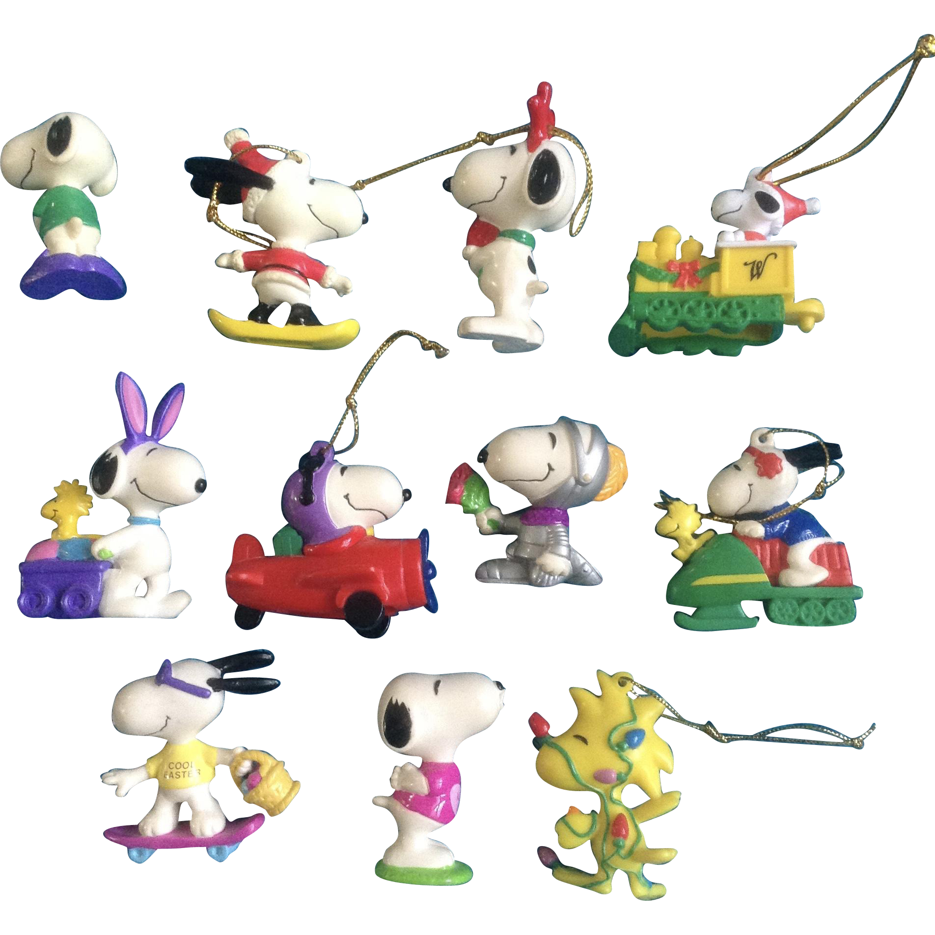 Snoopy and woodstock christmas clipart black and white download Vintage Snoopy Woodstock Peanuts Rubber Christmas & Easter Ornaments ... black and white download