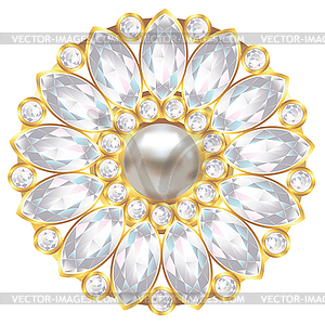Pearl brooch clipart clip art royalty free Brooch with pearl and diamonds - vector clipart clip art royalty free