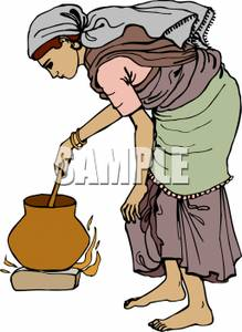 Peasant woman clipart image royalty free download Peasant Woman Stirring a Pot - Royalty Free Clipart Picture image royalty free download