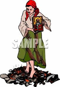 Peasant woman clipart freeuse stock Peasant Woman Walking Over Hot Coals In a Ceremony - Royalty ... freeuse stock