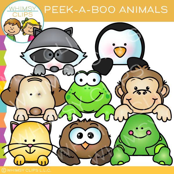 Peek a boo clipart jpg free library Peek-a-Boo Animals Clip Art jpg free library