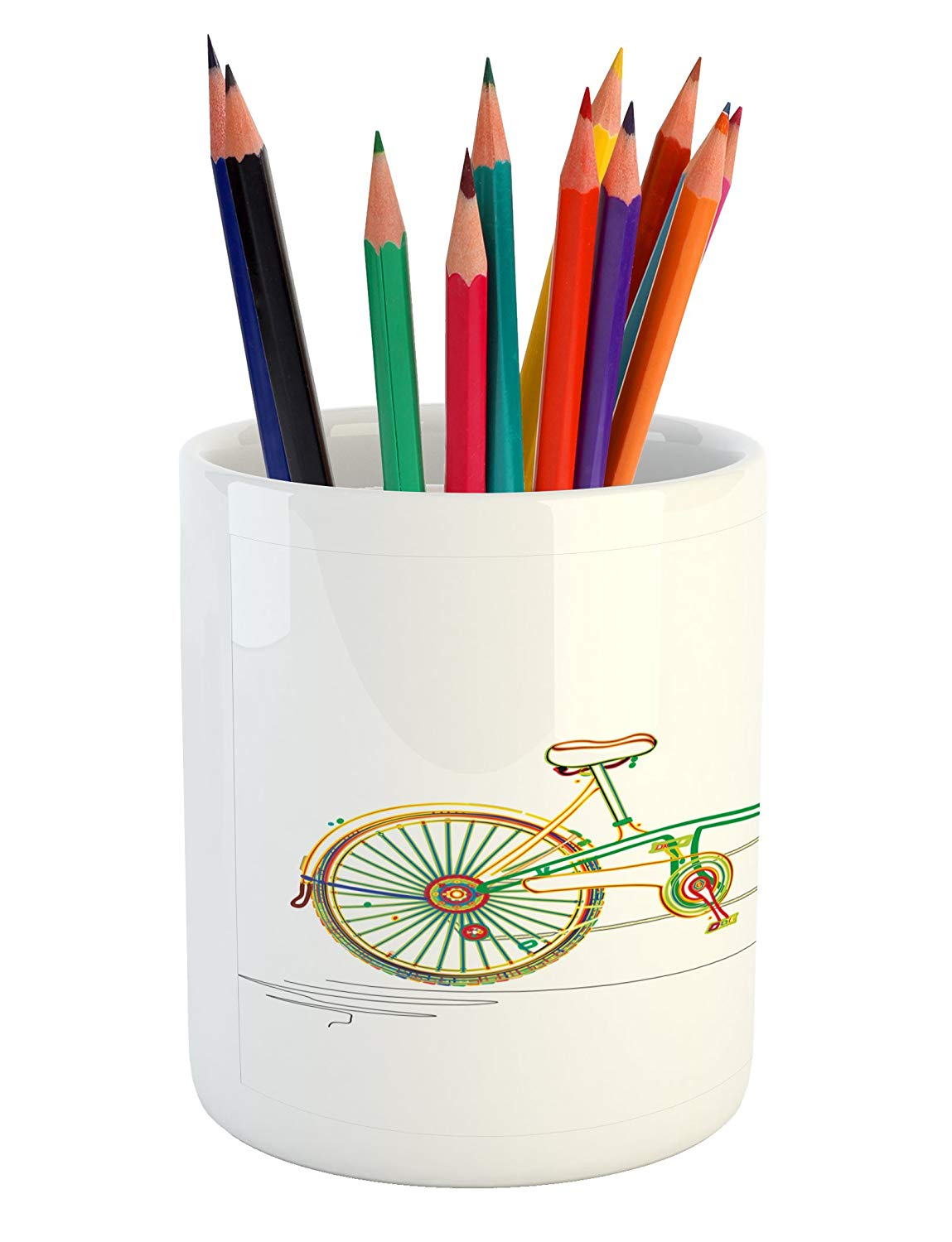 Pen holder clipart picture library stock Amazon.com: Ambesonne Bicycle Pencil Pen Holder, Colorful ... picture library stock