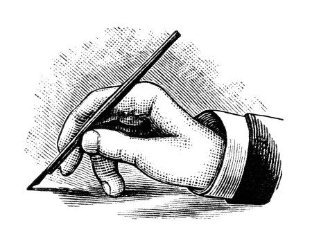 Pen in hand clipart picture transparent download vintage hand writing with pen, black and white clipart ... picture transparent download