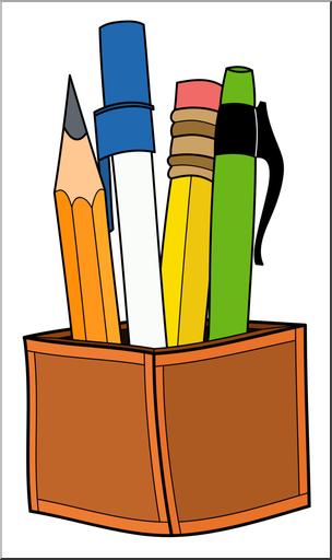 Pencil and pen clipart graphic free Clip Art: Pen & Pencil Holder Color 2 I abcteach.com | abcteach graphic free