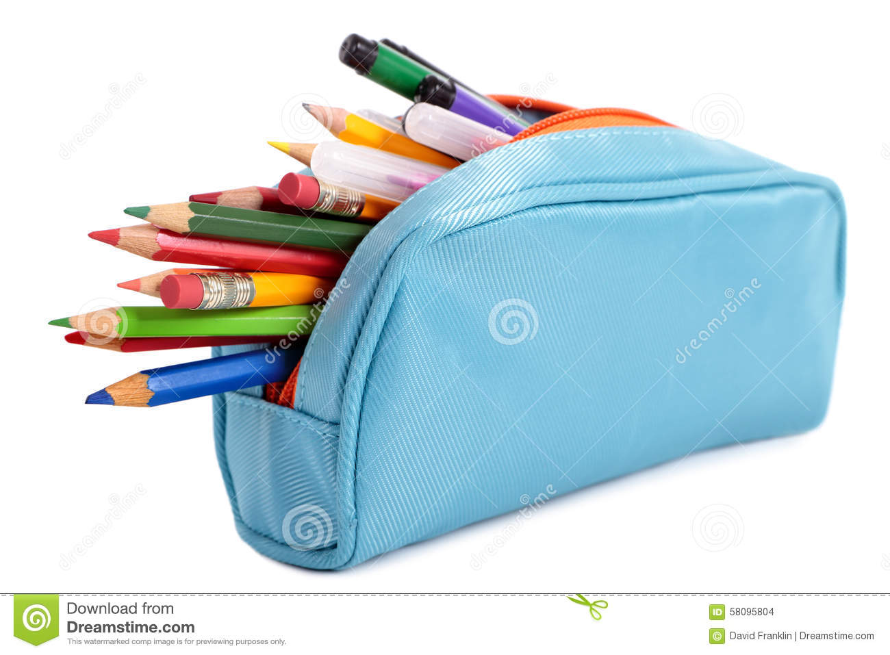 Pencil case clipart free picture library download Pencil Case Full With Pens And Pencils, Isolated On White ... picture library download