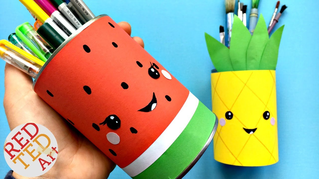 Pencil case made out of plastic bottle clipart jpg royalty free download Easy Melon Pencil Holder DIY - School Supplies jpg royalty free download
