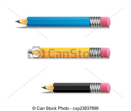 Pencil clipart size jpg black and white stock EPS Vectors of Pencil cartoon - Three kind of pencil with ... jpg black and white stock