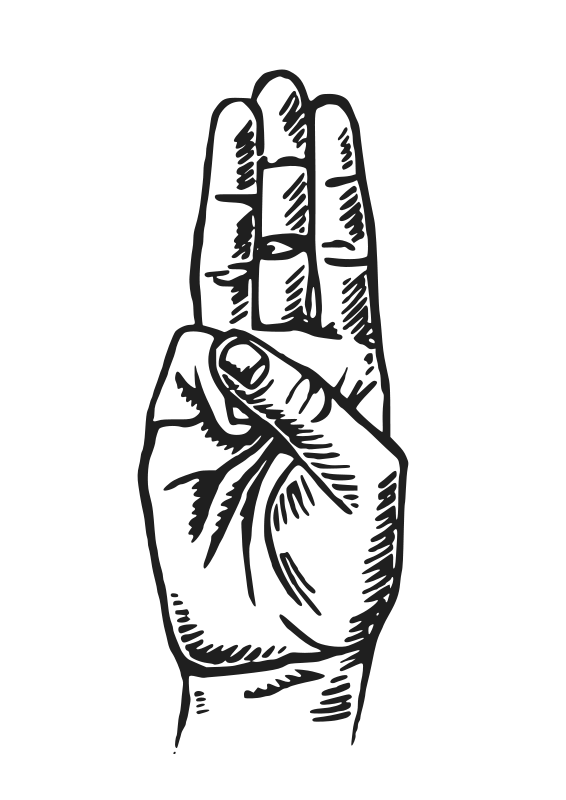 Pencil drawn three finger hand signal clipart clip art freeuse stock Scout Sign   Doing that crazy hand jive.   Hunger games ... clip art freeuse stock
