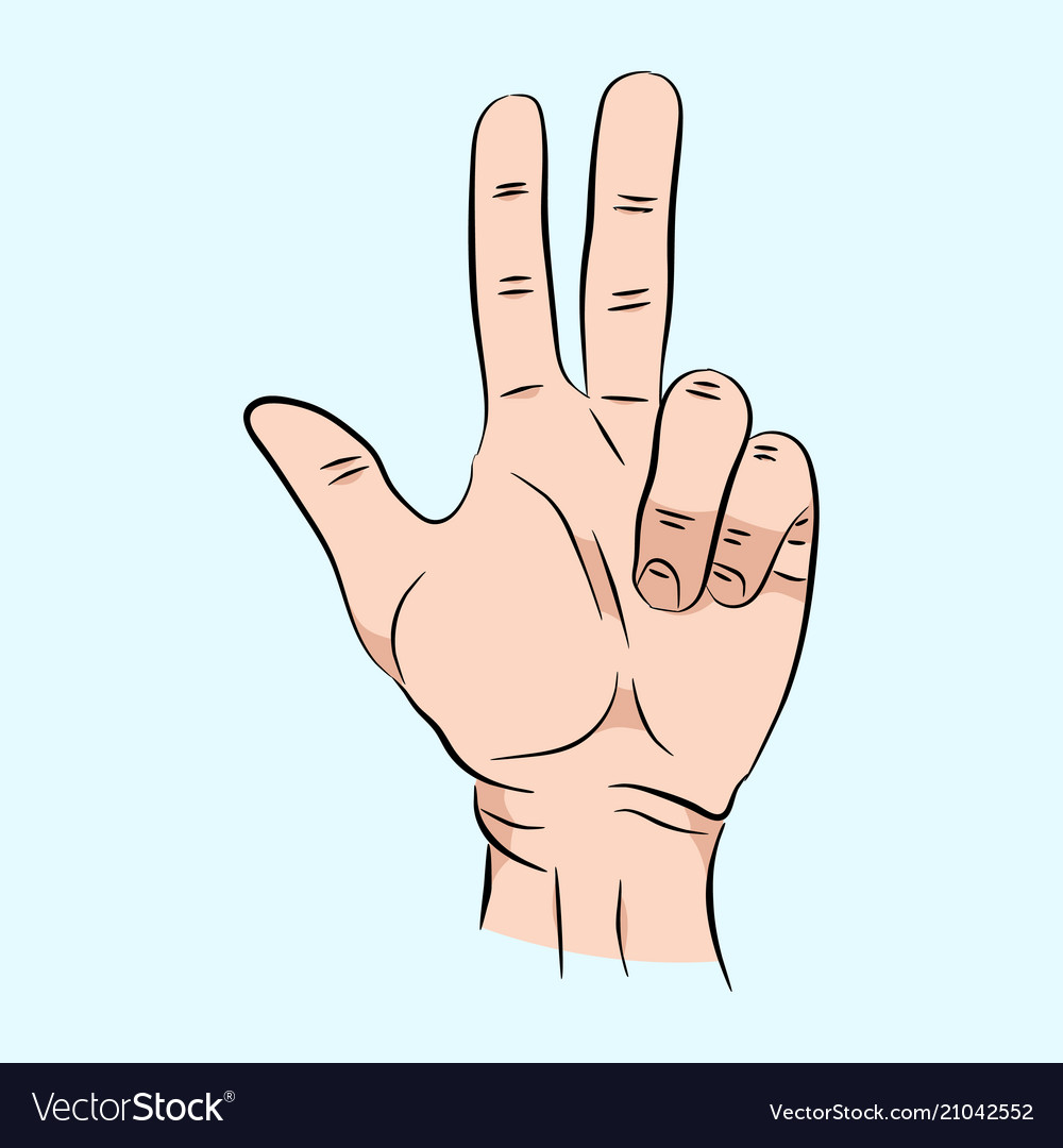 Pencil drawn three finger hand signal clipart clip art transparent stock Sketch of hand sign three finger color clip art transparent stock