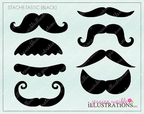 Pencil thin mustache clipart clip black and white stock Stache-Tastic Black Cute Printable Moustache Birthday Party Favors ... clip black and white stock