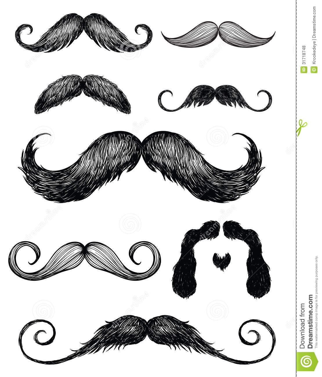 Pencil thin mustache clipart png freeuse download Hand Drawn Mustache Set 2 Royalty Free Stock Photos - Image: 31718748 png freeuse download