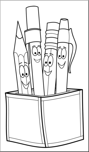 Pencils and pens clipart black and white stock Clip Art: Cute Pen & Pencil Holder B&W I abcteach.com   abcteach stock