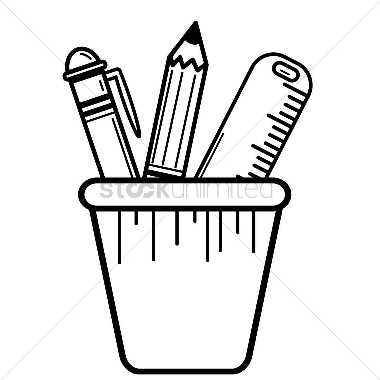 Pencils and pens clipart black and white clipart freeuse library Free Pen pencil and ruler in pen holder Vector Image ... clipart freeuse library