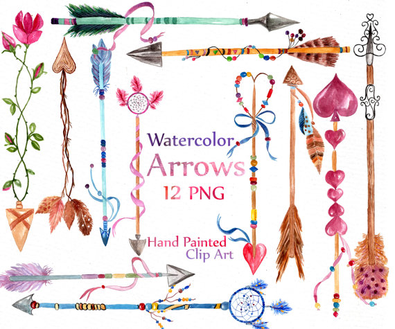 Pene clipart svg royalty free library Watercolor arrows clipart: \
