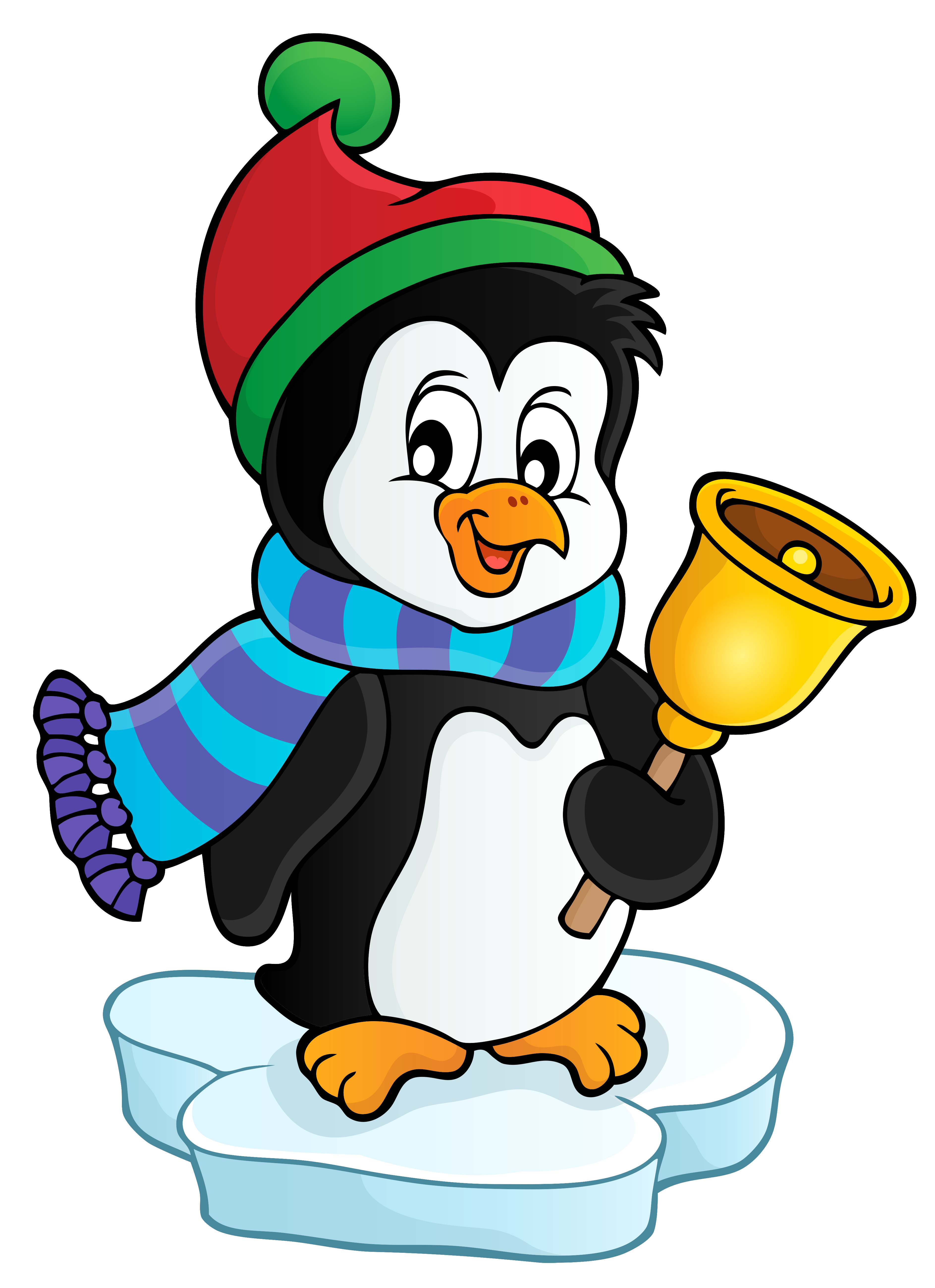 Penguin christmas clipart clip art black and white download Penguin with Bell Transparent PNG Clip Art Image   Gallery ... clip art black and white download