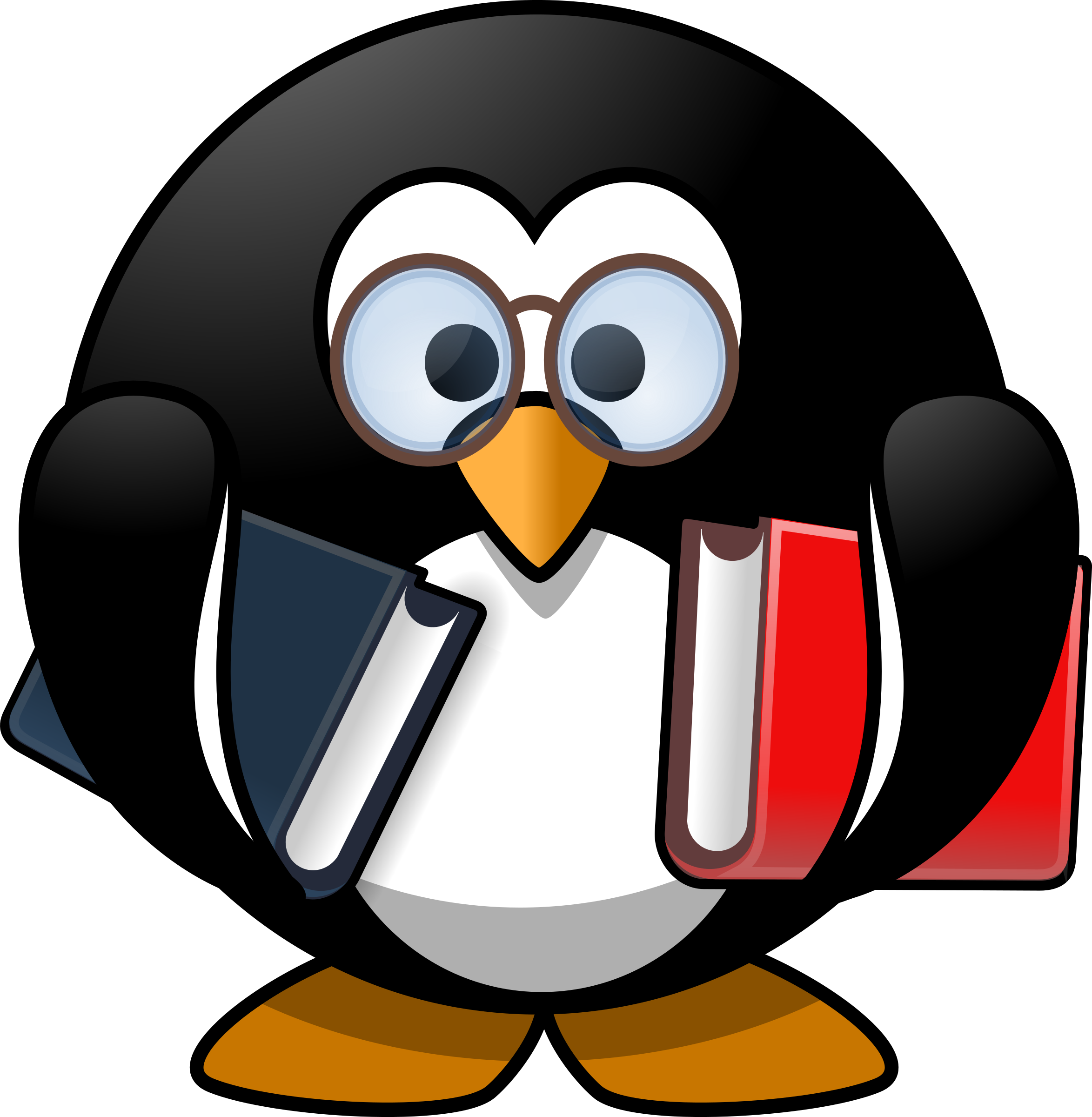 Penguin reading a book clipart png library library Clipart - Bookworm penguin png library library