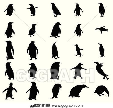 Penguin silhouette clipart clip free stock Vector Art - Penguin silhouettes set . EPS clipart ... clip free stock