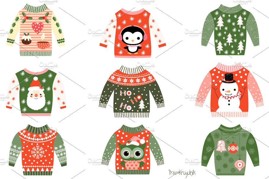 Penguin sweater clipart banner free Cute ugly Christmas sweaters clipart banner free