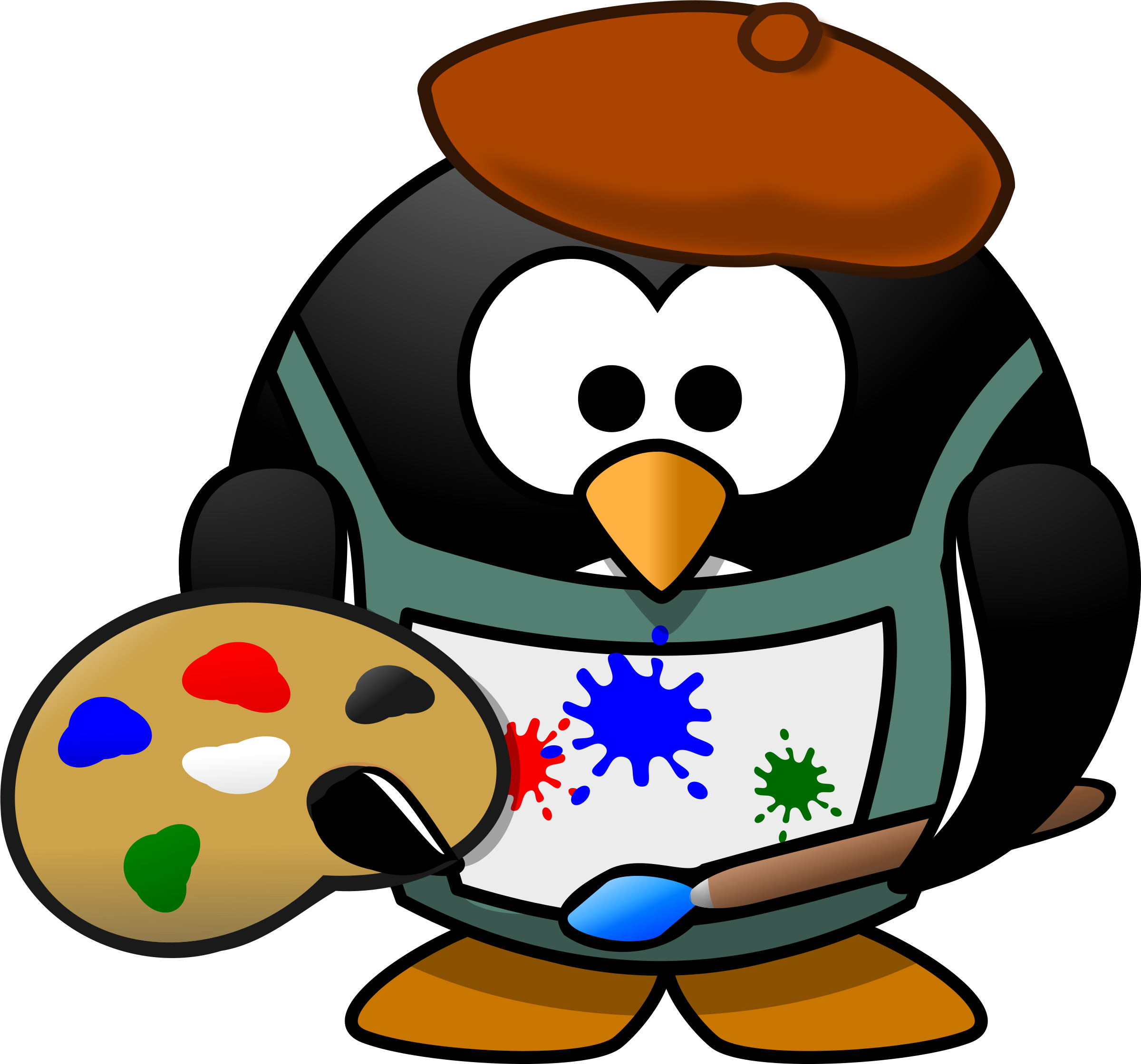 Penguin with book clipart banner transparent library Clipart - Painter penguin banner transparent library