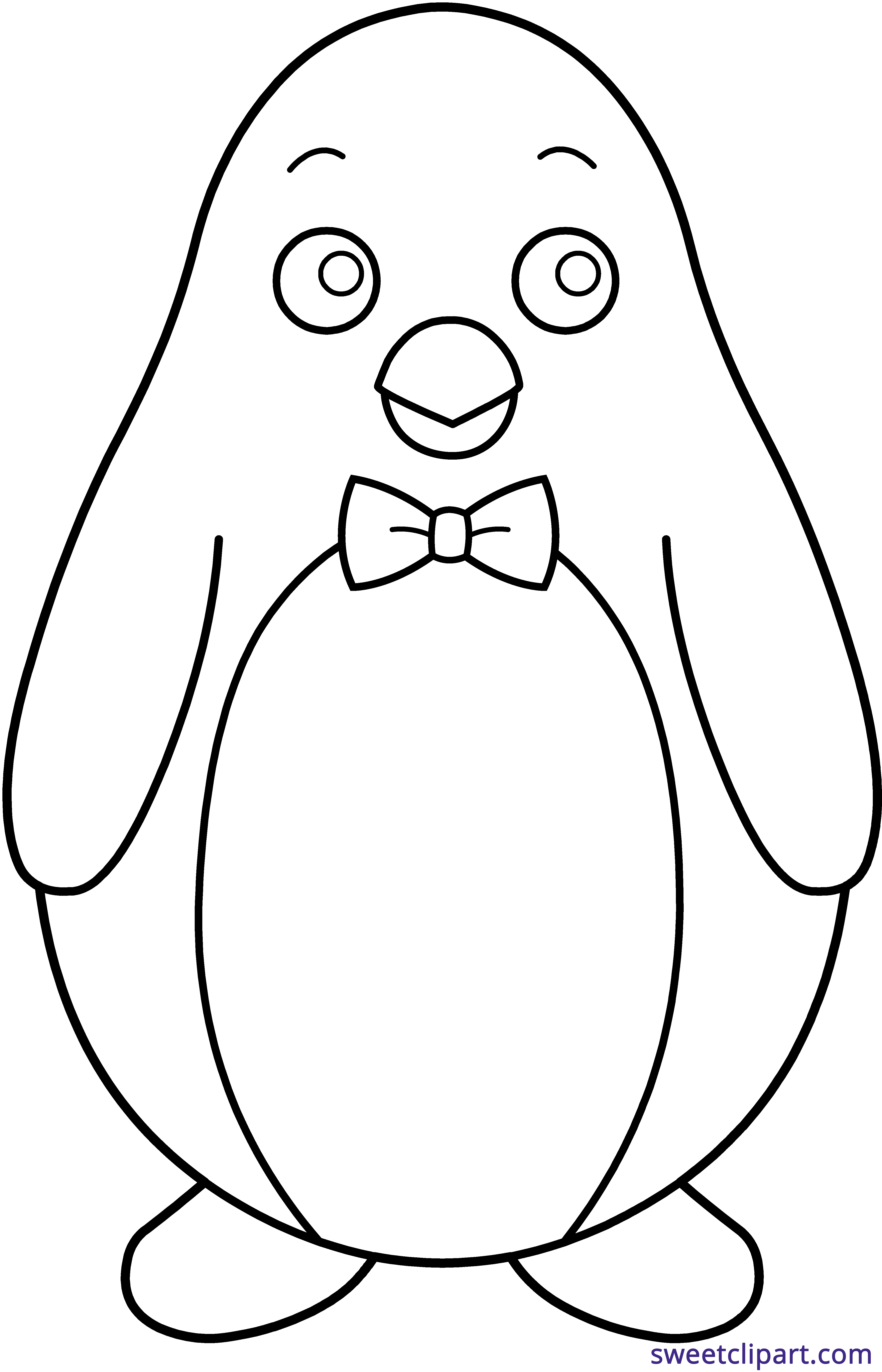 Penguin with book clipart banner black and white stock Penguin Bowtie Line Art Clipart - Sweet Clip Art banner black and white stock
