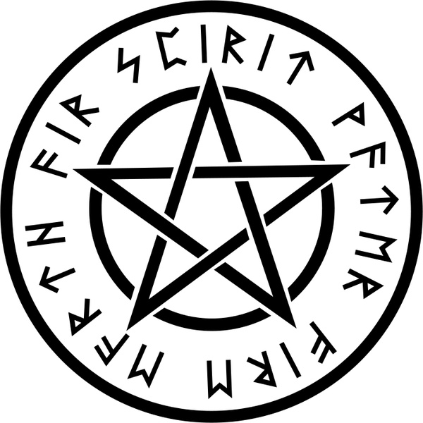 Pentacle vector clipart banner black and white stock Wiccan White Pentagram Free vector in Open office drawing ... banner black and white stock