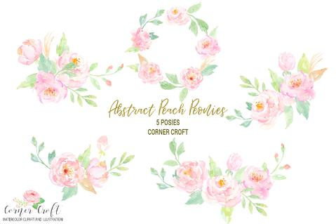Peony clipart free clip black and white Watercolor Clipart Peach Peonies Free Download – Corner Croft clip black and white
