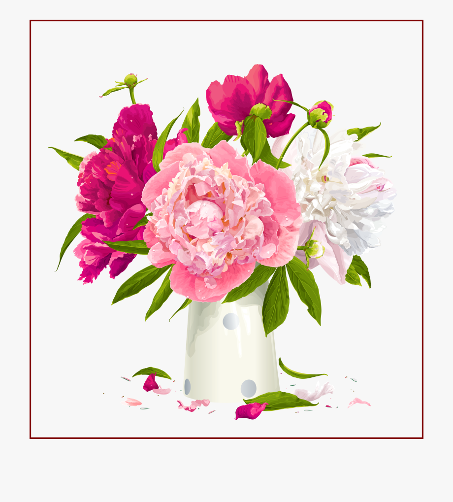 Peony clipart free svg black and white download Flowers Clipart Beautiful - Pink Peony Flowers Png #1311614 ... svg black and white download