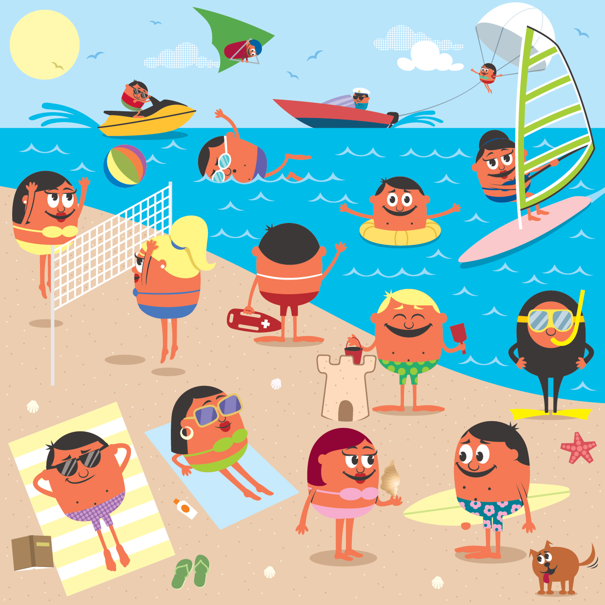 People at the beach clipart