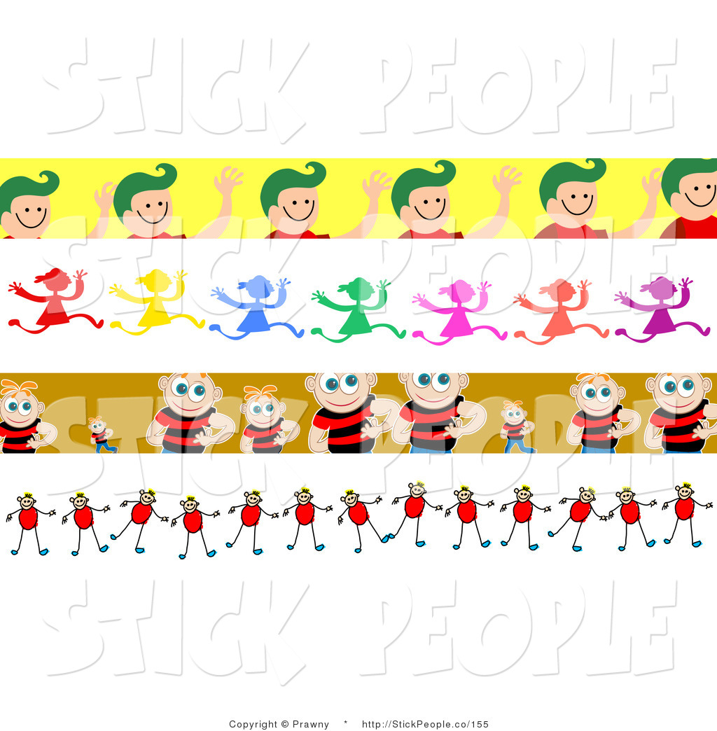 People border clipart vector library Royalty Free Stock Stick People Designs of Borders vector library