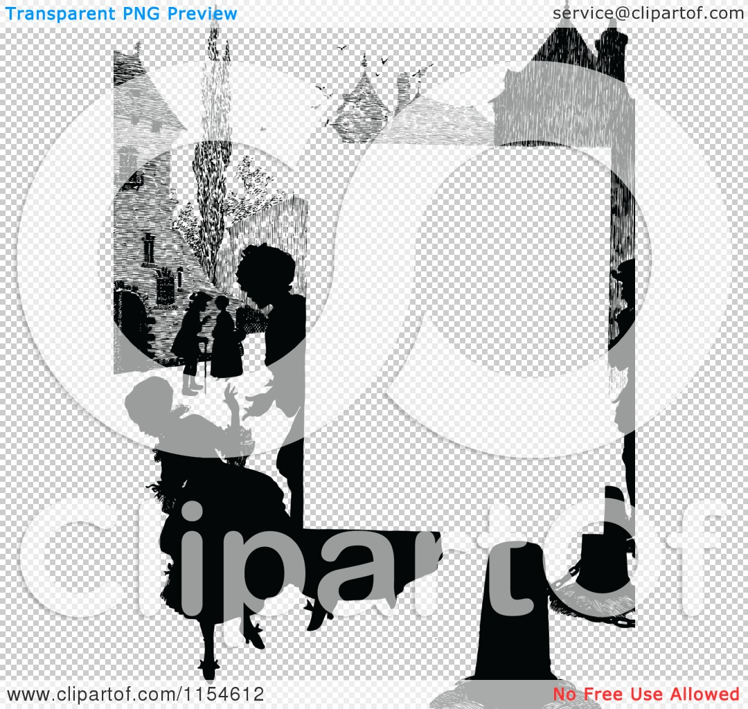 People border clipart clip free Clipart of a Retro Vintage Silhouetted Village People Page Border ... clip free
