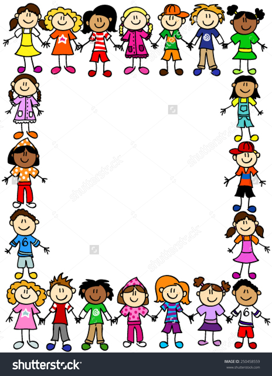 People clipart border picture free library Frame Page Border Cute Kid Cartoon Stock Vector 250458559 ... picture free library