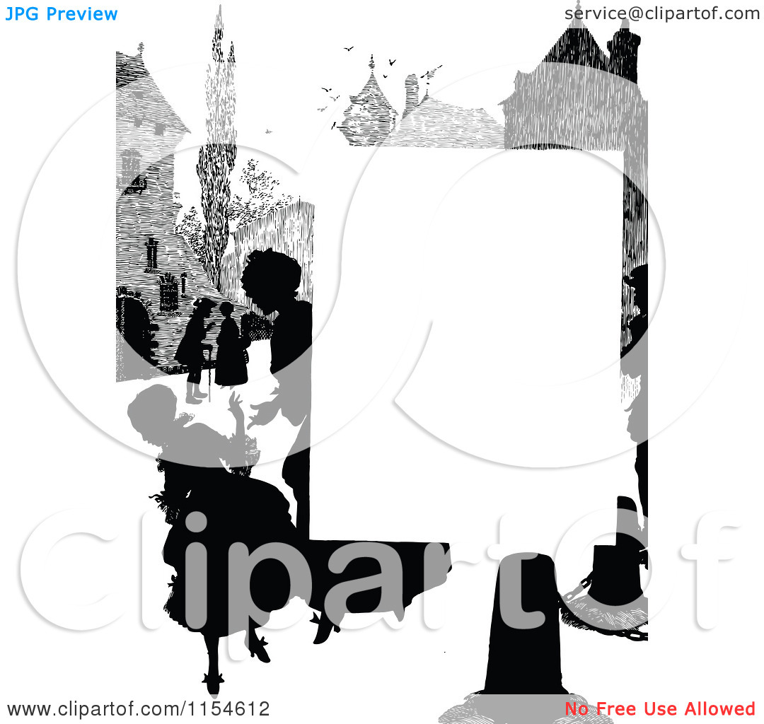 People clipart border vector library Clipart of a Retro Vintage Silhouetted Village People Page Border ... vector library