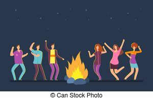 People dancing in the forest around fire clipart image free stock Witches dancing around fire at halloween. Vector ... image free stock