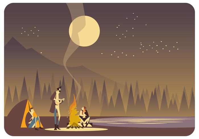 People dancing in the forest around fire clipart clip download A Group of a Man at Campfire Vector - Download Free Vectors ... clip download