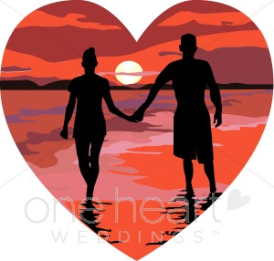 People in a heart holding hands clipart clip library Red Heart Sunset Beach Holding Hands   Honeymoon Clipart clip library
