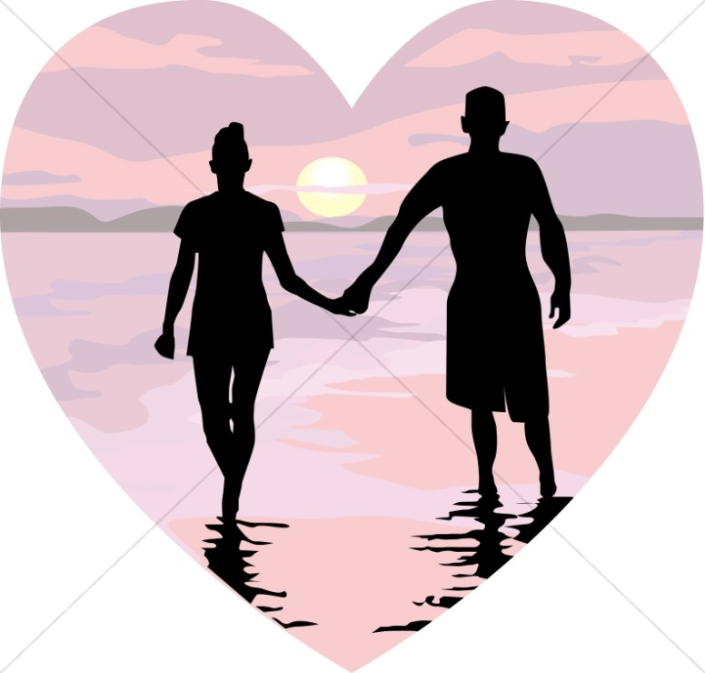 People in a heart holding hands clipart banner black and white stock Holding Hands in Pink Sunset Heart   Christian Heart Clipart banner black and white stock